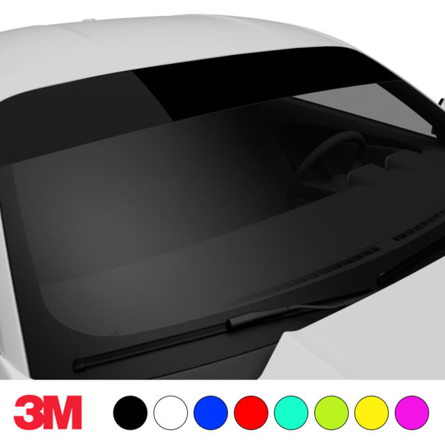 Jdm Premium Windshield Strip Banner Plain Color Black Side 2