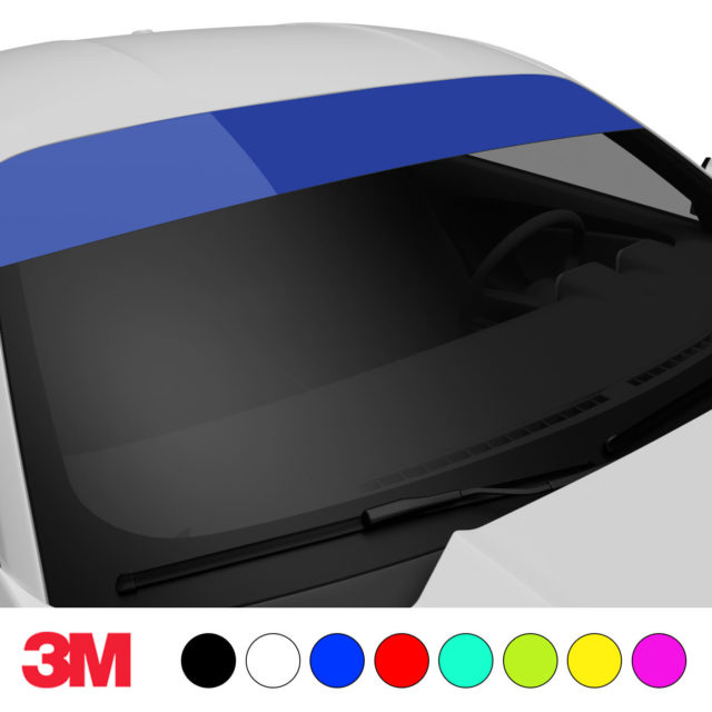 Jdm Premium Windshield Strip Banner Plain Color Blue Side 2