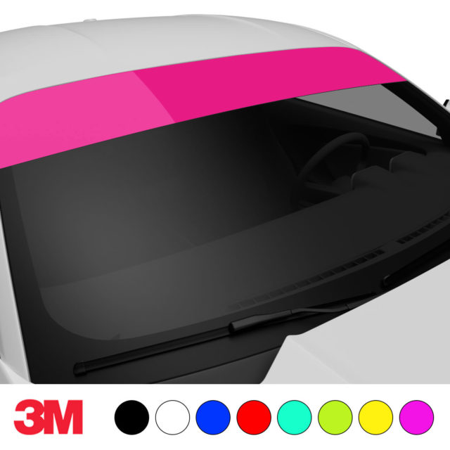 Jdm Premium Windshield Strip Banner Plain Color Hot Pink Side 2