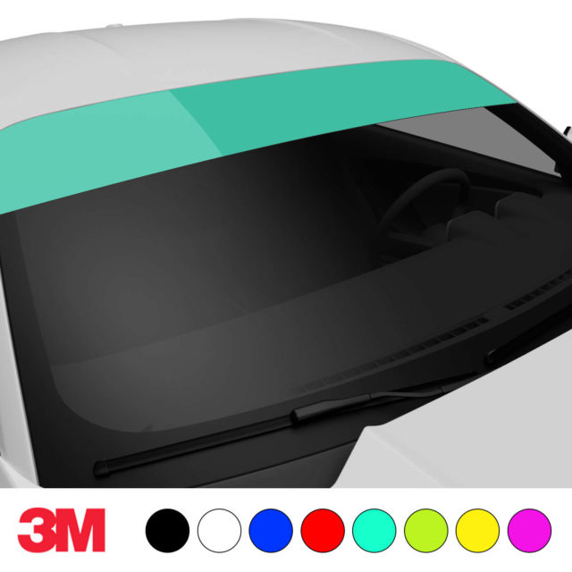 Jdm Premium Windshield Strip Banner Plain Color Mint Side 2