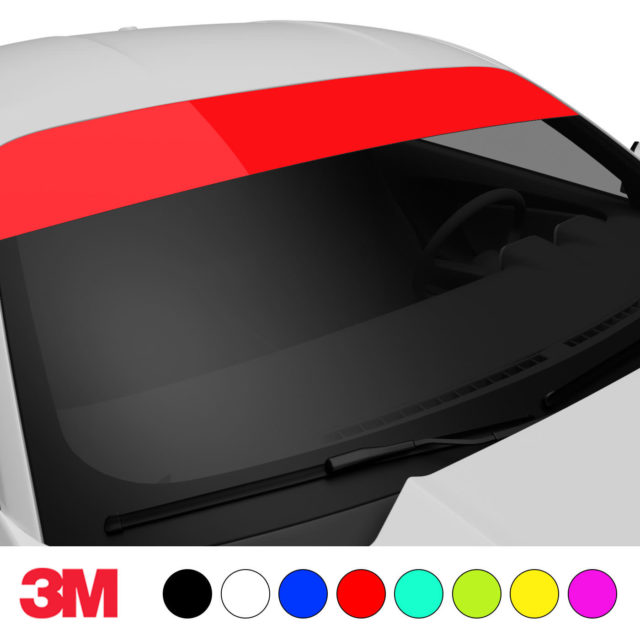 Jdm Premium Windshield Strip Banner Plain Color Red Side 2