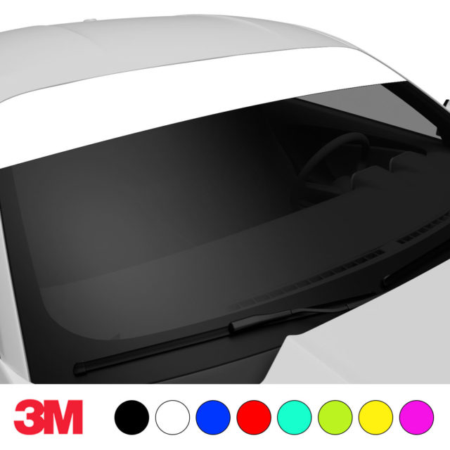 Jdm Premium Windshield Strip Banner Plain Color White Side 2