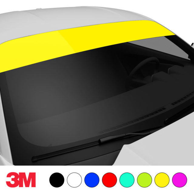 Jdm Premium Windshield Strip Banner Plain Color Yellow Side 2