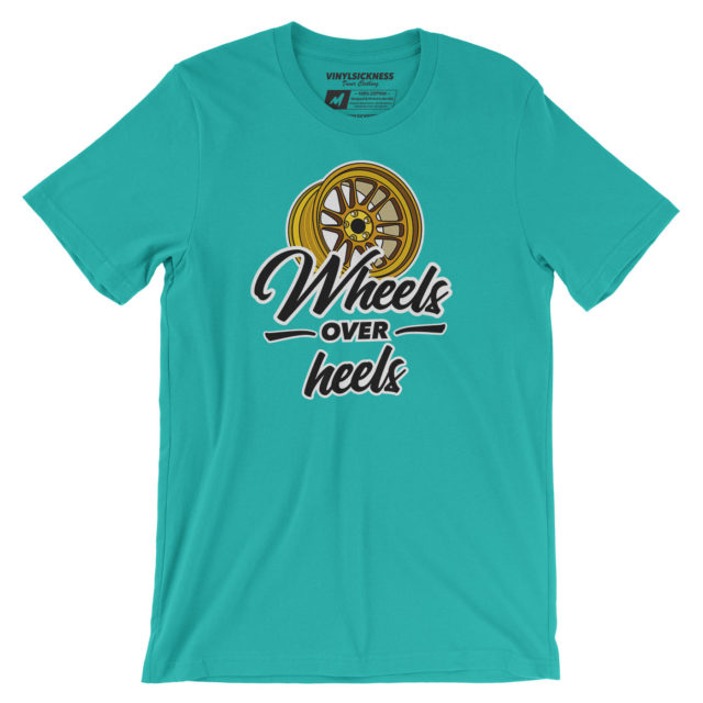 Wheels Over Heels Teal Tshirt