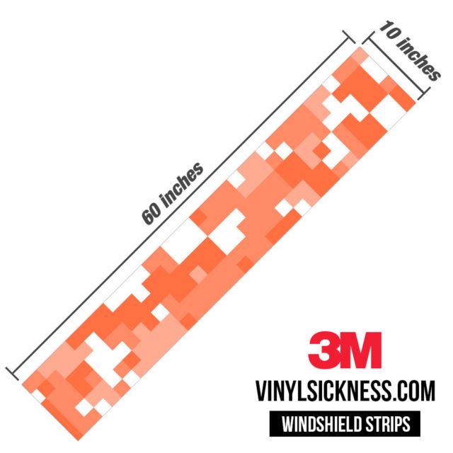 Apricot Digital Camo Windshield Sun Strip Dimension