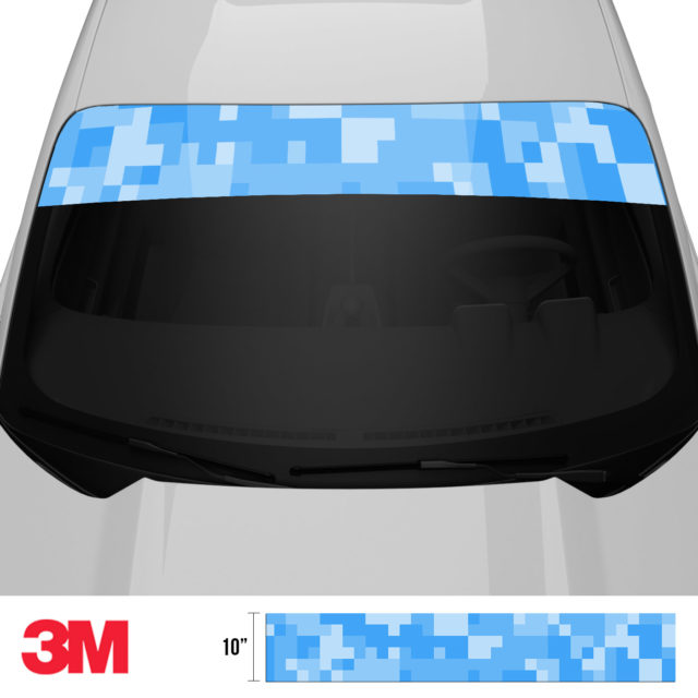 Azure Blue Digital Camo Windshield Sun Strip Front 2