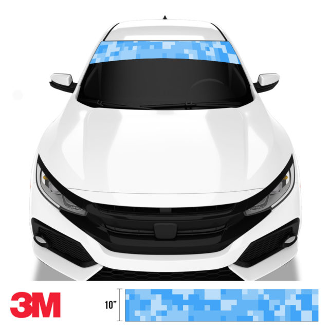 Azure Blue Digital Camo Windshield Sun Strip Front