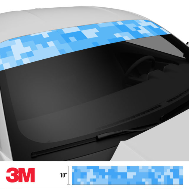 Azure Blue Digital Camo Windshield Sun Strip Side 2