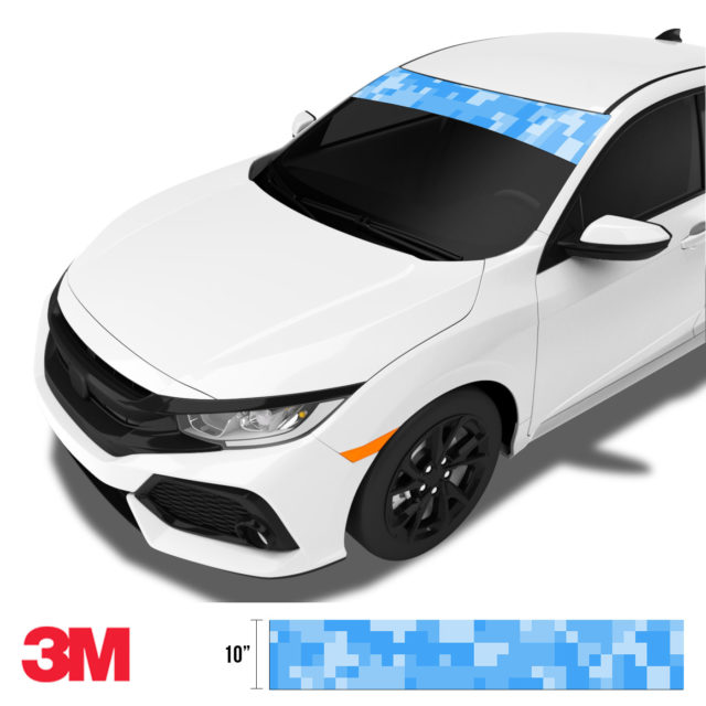 Azure Blue Digital Camo Windshield Sun Strip Side