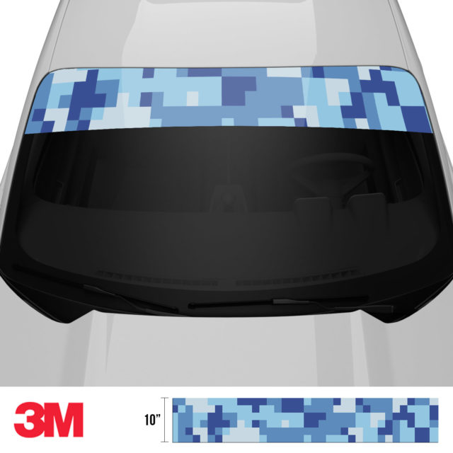 Blue Gray Digital Camo Windshield Sun Strip Front 2