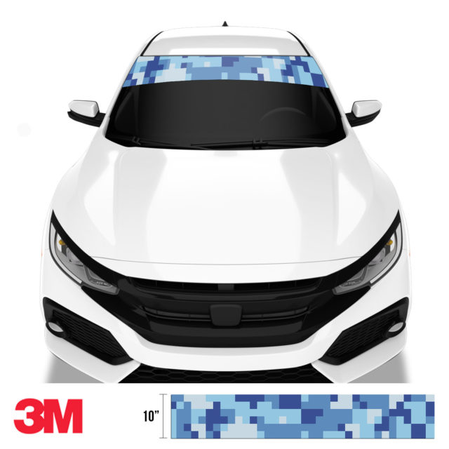 Blue Gray Digital Camo Windshield Sun Strip Front