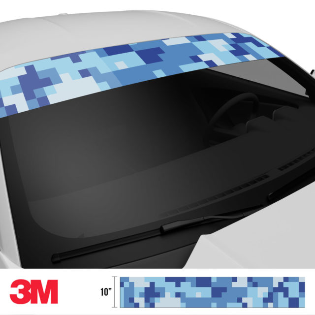 Blue Gray Digital Camo Windshield Sun Strip Side 2