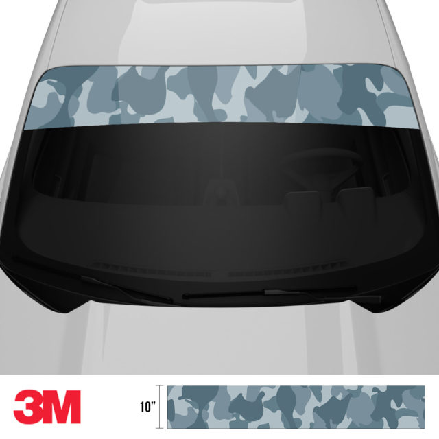 Blue Iris Camo Windshield Sun Strip Front 2
