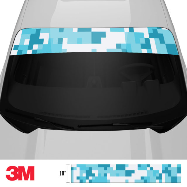 Bondi Blue Digital Camo Windshield Sun Strip Front 2