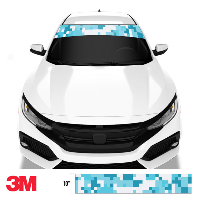 Bondi Blue Digital Camo Windshield Sun Strip Front