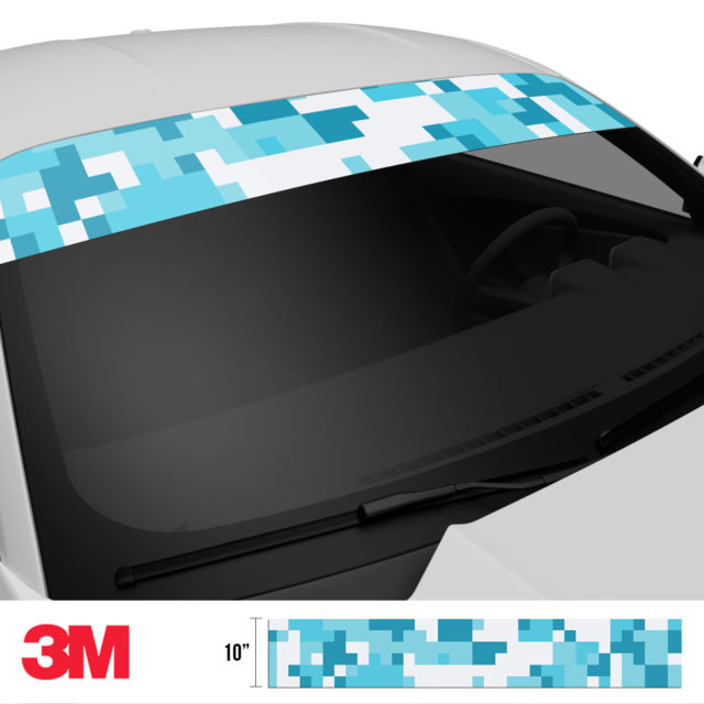 Bondi Blue Digital Camo Windshield Sun Strip Side 2