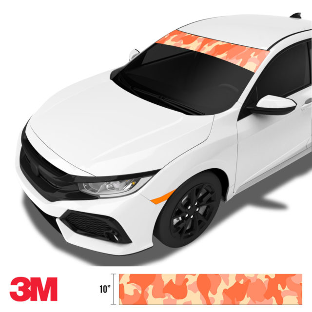 Carrot Camo Windshield Sun Strip Side