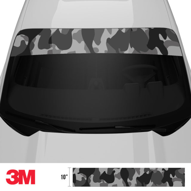 Charcoal Smoke Camo Windshield Sun Strip Front 2