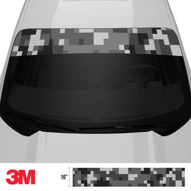 Charcoal Smoke Digital Camo Windshield Sun Strip Front 2