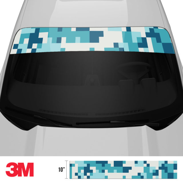 Dark Cyan Blue Digital Camo Windshield Sun Strip Front 2