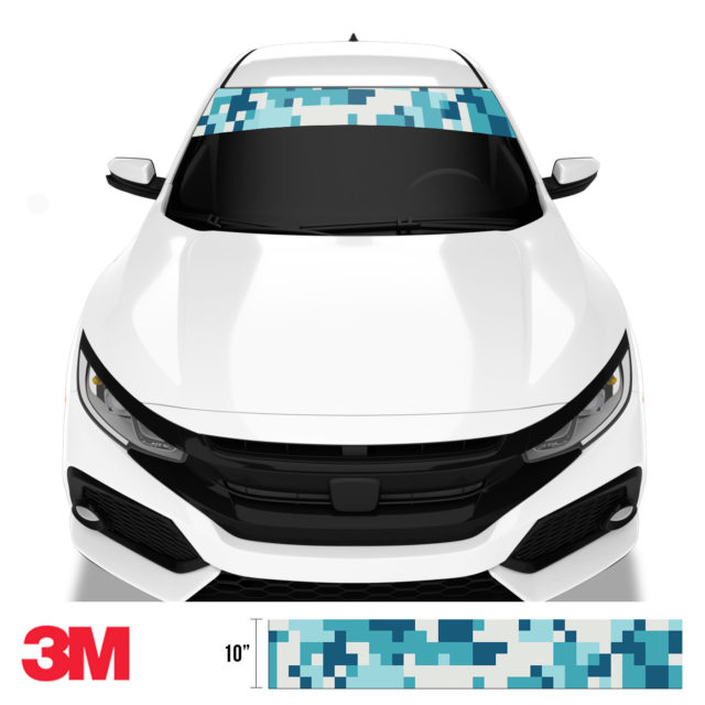Dark Cyan Blue Digital Camo Windshield Sun Strip Front