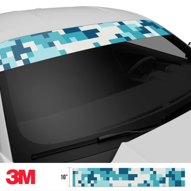 Dark Cyan Blue Digital Camo Windshield Sun Strip Side 2