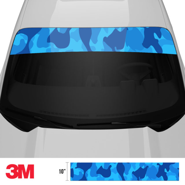 Dark Intense Blue Windshield Sun Strip Front 2