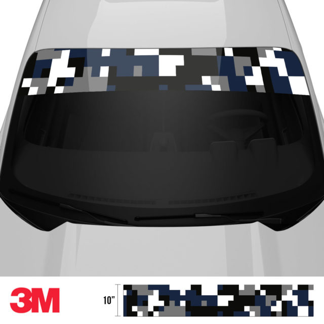 Deep French Navy Digital Camo Windshield Sun Strip Front 2