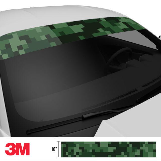 Deep Green Digital Camo Windshield Sun Strip Side 2