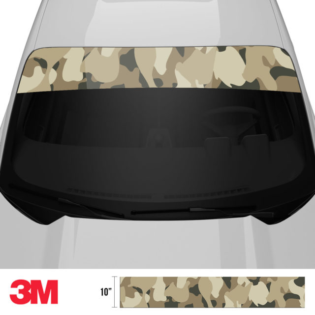 Dried Moss Sand Camo Windshield Sun Strip Front 2