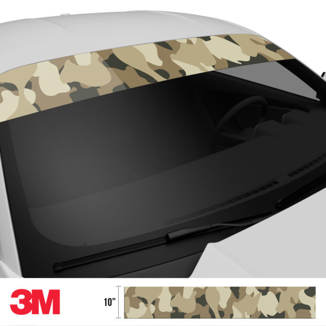 Dried Moss Sand Camo Windshield Sun Strip Side 2