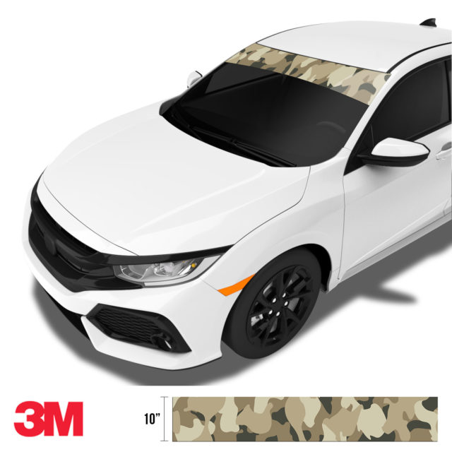 Dried Moss Sand Camo Windshield Sun Strip Side