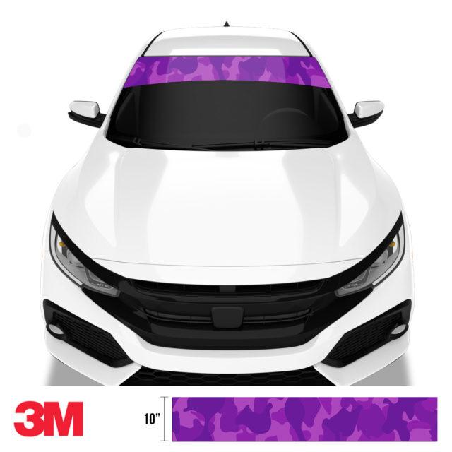 Electric Purple Camo Windshield Sun Strip Front