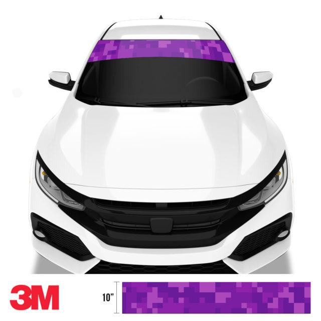 Electric Purple Digital Camo Windshield Sun Strip Front