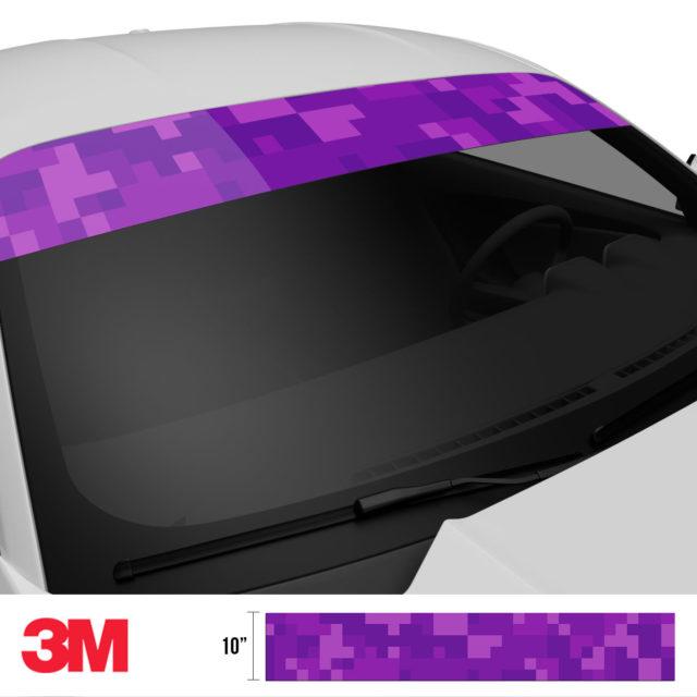 Electric Purple Digital Camo Windshield Sun Strip Side 2