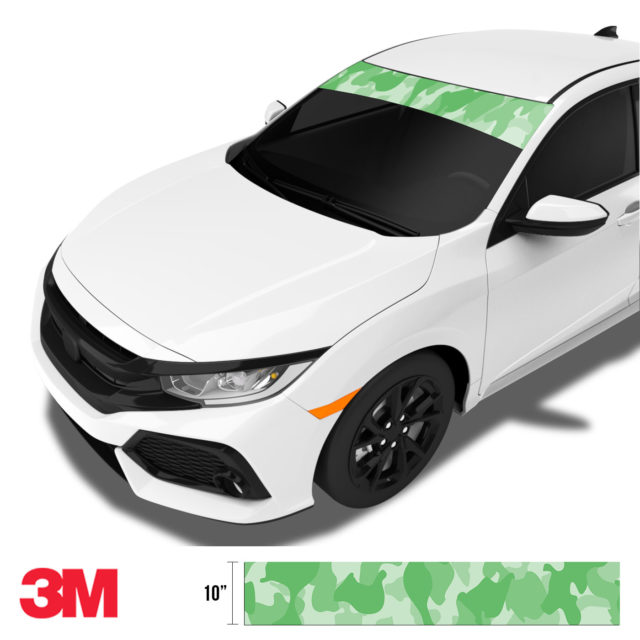 Emerald Green Camo Windshield Sun Strip Side