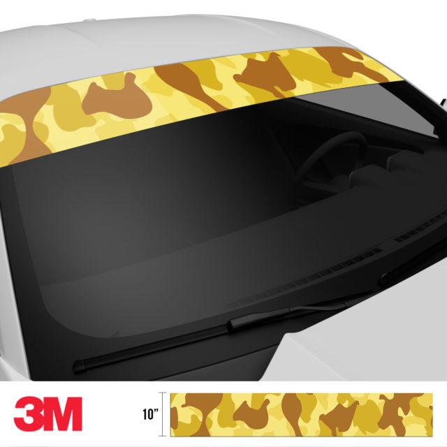 Flaxen Yellow Camo Windshield Sun Strip Side 2