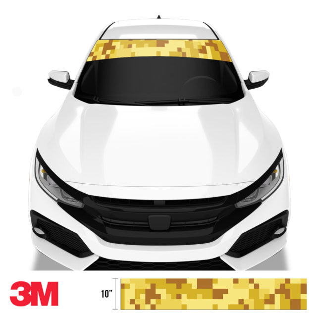Flaxen Yellow Digital Camo Windshield Sun Strip Front