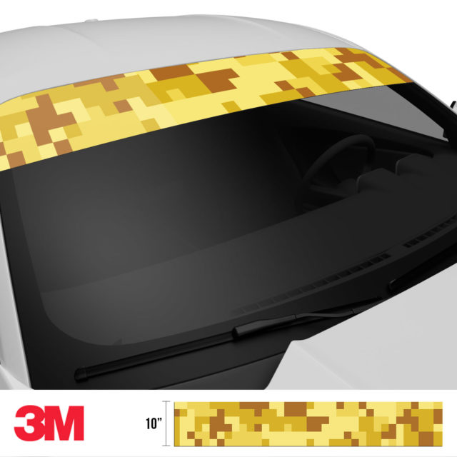 Flaxen Yellow Digital Camo Windshield Sun Strip Side 2