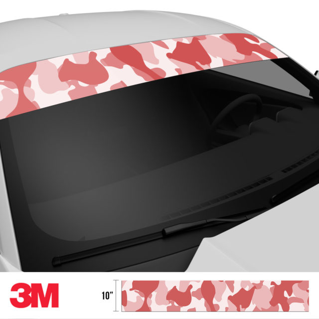 French Rose Camo Windshield Sun Strip Side 2
