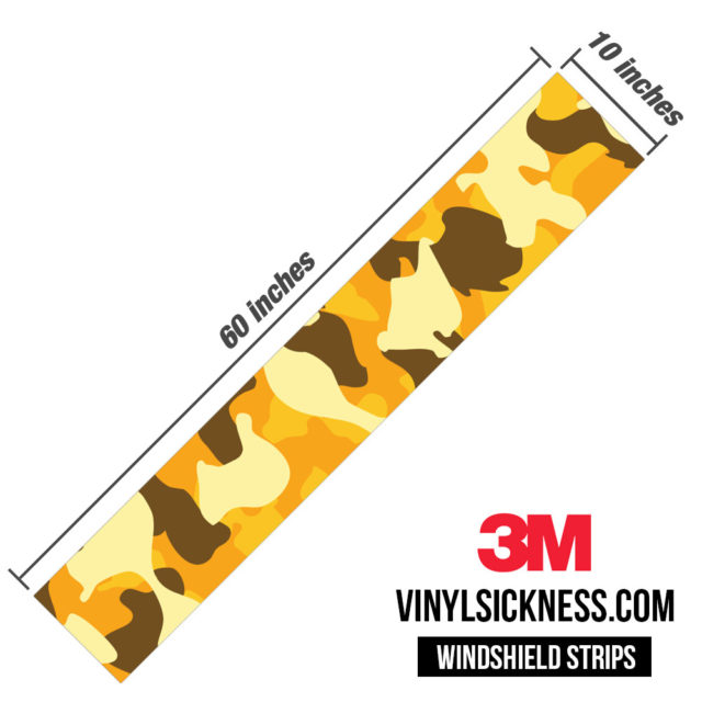 Golden Rod Camo Windshield Sun Strip Dimension