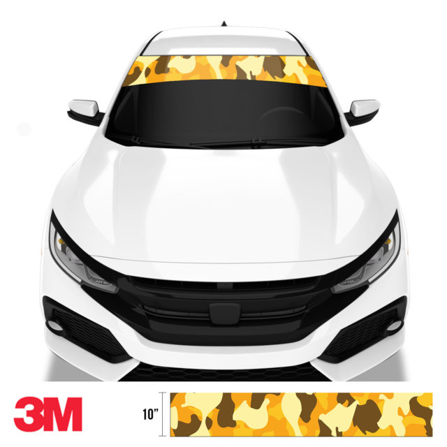 Golden Rod Camo Windshield Sun Strip Front