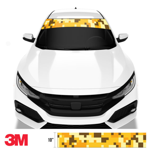Golden Rod Digital Camo Windshield Sun Strip Front