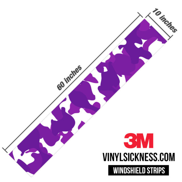 Grape Velvet Camo Windshield Sun Strip Dimension