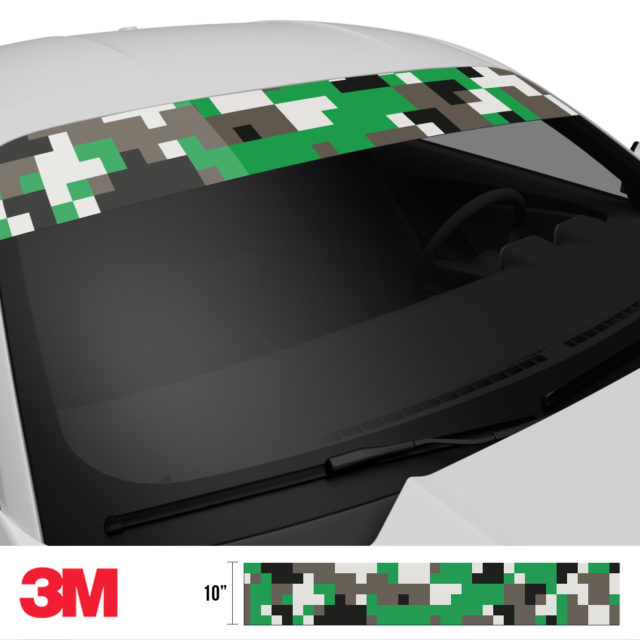 Green Ash Digital Camo Windshield Sun Strip Side 2