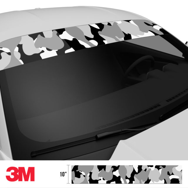 Grey Pewter Camo Windshield Sun Strip Side 2