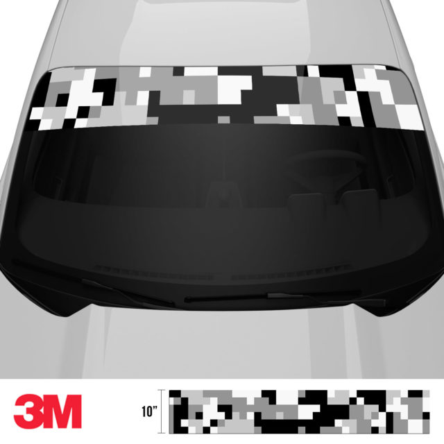 Grey Pewter Digital Camo Windshield Sun Strip Front 2