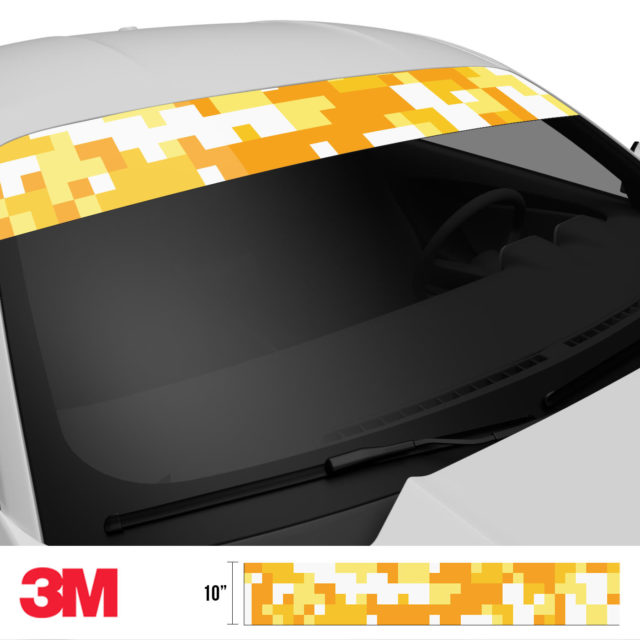 Honey Yellow Digital Camo Windshield Sun Strip Side 2