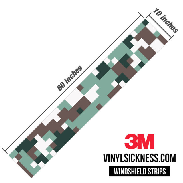 Hunter Green Digital Camo Windshield Sun Strip Dimension