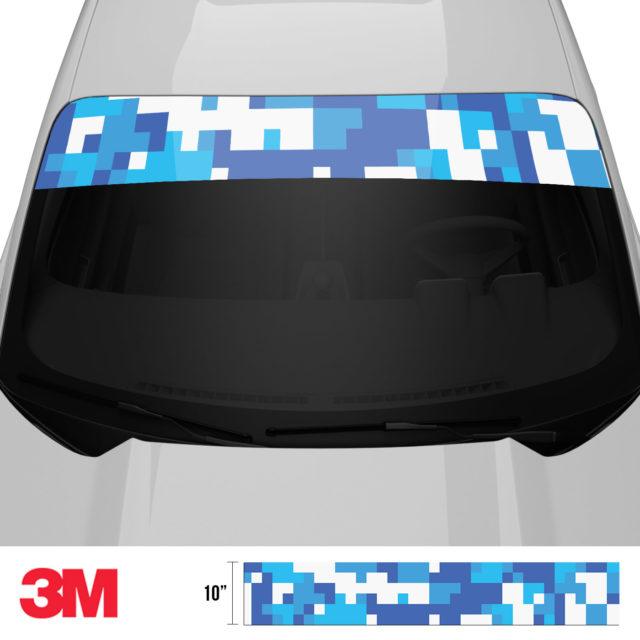 Hyper Blue Digital Camo Windshield Sun Strip Front 2